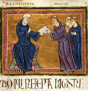 Rule of Saint Benedict - Saint Benedict delivering his rule to the monks of his order, Monastery of St. Gilles, Nimes, France, 1129
