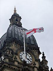St George's flag on Leeds Town Hall