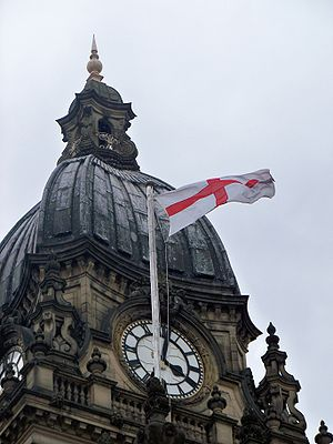 Flag of England - Flag flying on Leeds Town Hall (2009).
