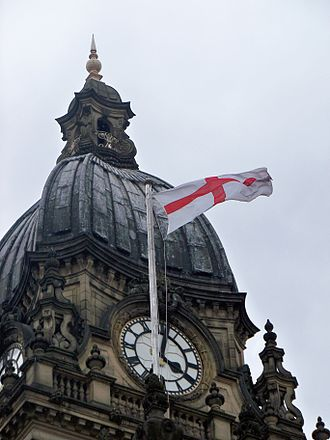 Saint George's Cross - Saint George's flag flying on Leeds Town Hall (2009).