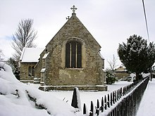 Saint Georges church from the south in January snow