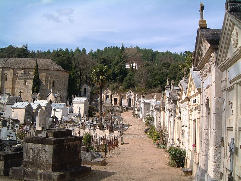 The church and cemetery of St Pierre de Rhedes, near Lamalou-les-Bains, Herault, France