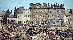 Kazimierz Dolny - Market square in Kazimierz Dolny in 1899, watercolor by Stanisław Masłowski