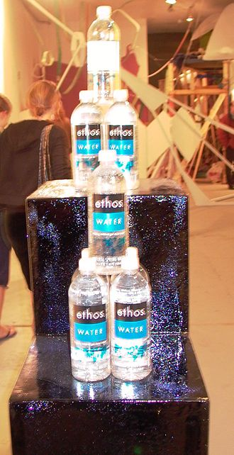 Ethos Water - A display of Ethos water