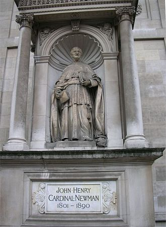 John Henry Newman - Statue outside the Church of the Immaculate Heart of Mary, popularly known as Brompton Oratory, in London
