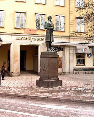 Lars Johan Hierta - Statue of Lars Johan Hierta at Riddarhustorget in Gamla stan, Stockholm.