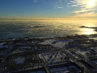 2016–17 North American winter - Lake Michigan in Chicago with steam rising due to cold air temperatures in December