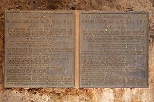 Robert Broom - Memorial plaque at the Sterkfontein caves