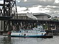 Sternwheel steam tug Portland after passing under Steel Bridge-crop1.jpg