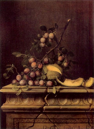Pierre Dupuis - Title unknown; still life, melons and plums, Pierre Dupuis, 17th century