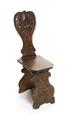 Stol av bonat valnötsträ s.k. sgabello med snidad ryggbräda, 1600-talets första hälft - Hallwylska museet - 108407.tif