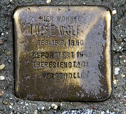 Photo of Luise Wolf brass plaque