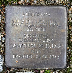 Photo of Max Blumenthal brass plaque