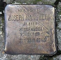 Photo of Joseph Mannheim brass plaque