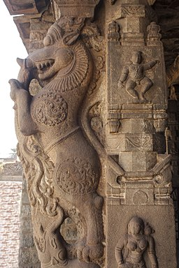 Stone pillar engraved Yeli in Hampi 01