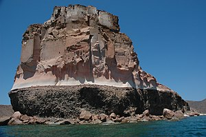 Stratified Island near La Paz%2C Baja California Sur%2C Mexico