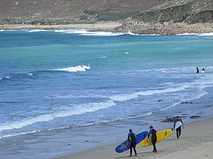 English: Surf's up! Whitesand Bay, Cornwall