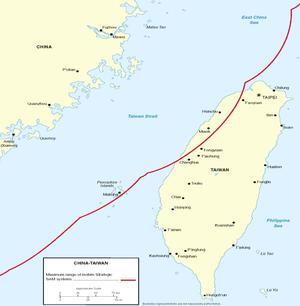 中國大陸地對空飛彈在臺灣海峽的覆蓋範圍