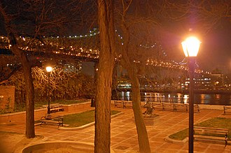 York Avenue and Sutton Place - Sutton Place Park at the end of 57th Street, with the Queensboro Bridge in the background