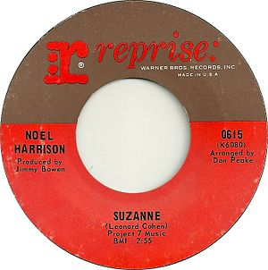 Suzanne (Leonard Cohen song) - A-side label of Noel Harrison recording (US release pictured)