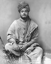 Swami Vivekananda sitting, black and white image