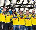 Sweden national under-21 football team celebrates in June 2015-8.jpg