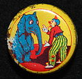 Sweets tin depicting a clown and an elephant.JPG
