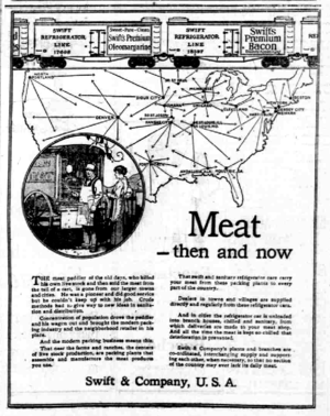Swift Refrigerator Line - Ad for the line from 1921. Shows sample Swift cars at the top and a map of the distribution locations.
