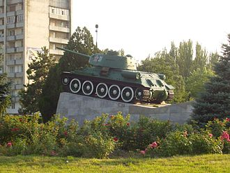 Armyansk - The Soviet monument of T-34 in the city commemorating the liberation from the Nazi occupation.