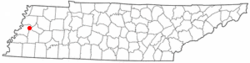 Location of Gates, Tennessee