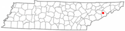 Location of Newport, Tennessee