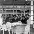 Tableau, man, women, meal, wicker chair, nurse Fortepan 20145.jpg