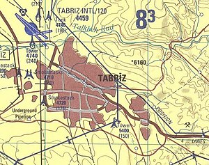 Quri Chay - Image: Tabriz map National Imagery and Mapping Agency 1998