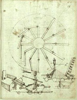 History of perpetual motion machines - Image: Taccola overbalanced wheel