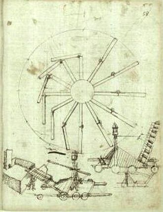 Taccola - Overbalanced wheel and war machines, by Taccola