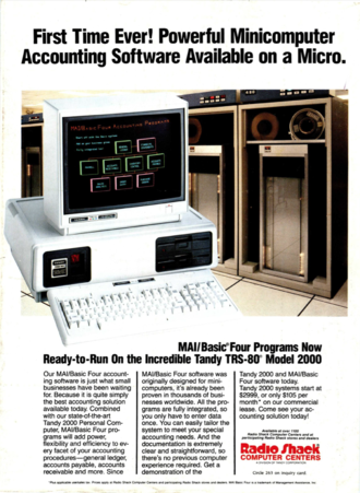 Tandy 2000 - Ad in Byte magazine, July 1984, co-marketing MAI/Basic Four software