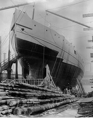 Tarmo (1907 icebreaker) - Tarmo at Armstrong Whitworth shipyard before launching.