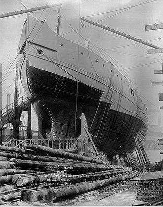 Tarmo (1907 icebreaker) - Tarmo at Armstrong Whitworth shipyard before launching.
