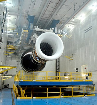 Rolls-Royce Trent - A Trent turbofan engine installed on a test bench at the Rolls-Royce Test Facility in Derby, UK.
