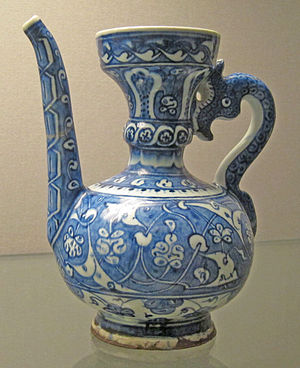 Stilfragen - 'Abraham of Kütahya ewer', probably made in Kütahya, dated 1510. Ottoman İznik pottery