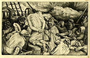 "The Rime of the Ancient Mariner - ""The Albatross about my Neck was Hung,"" etching by William Strang. Poem illustration published 1896."