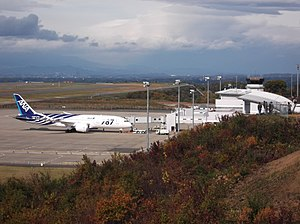 The Boeing 787 which came flying for the first time at Fukushima Airport. Taken photo from an observatory..JPG