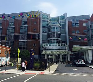 Robert Wood Johnson University Hospital - The Bristol-Myers Squibb Children's Hospital at Robert Wood Johnson University Hospital in New Brunswick, New Jersey, taken August 24, 2015.