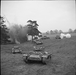 16th/5th The Queen's Royal Lancers - Valentine tanks of 16th/5th Lancers training near Brandon in Northumberland, 9 December 1941.