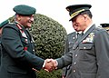 The Chief of Army Staff, Gen. V.K. Singh receiving the Head of the Japan Ground Self-Defense Force, Gen. Yoshifumi Hibako, in New Delhi on February 14, 2011.jpg