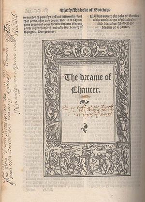 "The Book of the Duchess - Opening title of ""The Dreame of Chaucer"", commonly referred to as ""The Book of the Duchess"", Geoffrey Chaucer's first own work, which was written probably between 1368 and 1372; published 1532 in the first collected edition of Chaucer's works, edited by William Thynne."