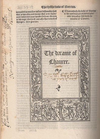 The Book of the Duchess - Opening title of The Dreame of Chaucer, commonly referred to as The Book of the Duchess, Geoffrey Chaucer's first own work, which was written probably between 1368 and 1372; published 1532 in the first collected edition of Chaucer's works, edited by William Thynne.