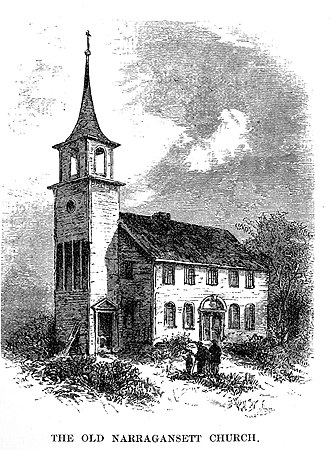 Old Narragansett Church - The church had a steeple from 1811 to 1846.