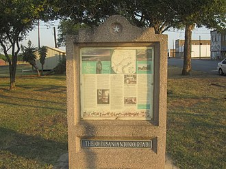 Old San Antonio Road - Old San Antonio Road historical marker in Cotulla in La Salle County in south Texas