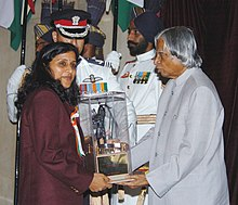 The President Dr. A.P.J. Abdul Kalam presenting the Arjuna Award -2005 to Ms. Anju Jain for Cricket (women), at a glittering function in New Delhi on August 29, 2006.jpg